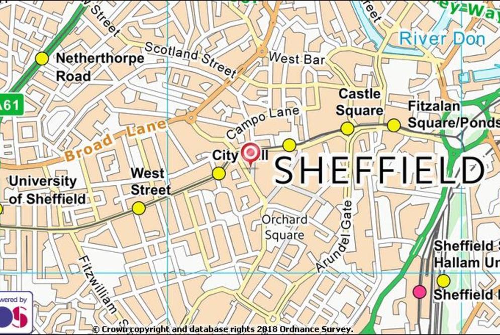 sheffield yorkshire map